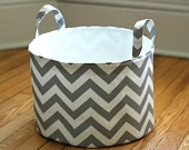 Fabric Storage Bucket - Large and Low, Gray and White Chevon