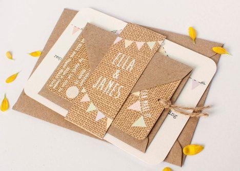 Burlap Bundle Wedding Invitations