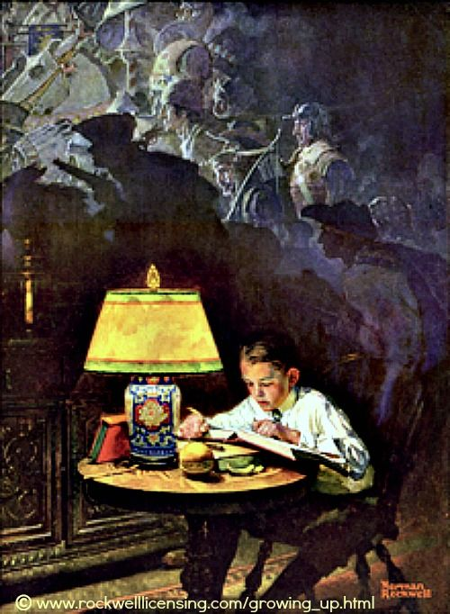 Boy Reading of Adventure by Norman Rockwell (Artist. USA)  © Rockwell Licensing. [Do not remove caption. The law requires that you credit the copyright holder/s. List/Link directly to their website.]   PINTEREST on COPYRIGHT:  http://pinterest.com/pin/86975836526856889/ The Golden Rule: http://pinterest.com/pin/86975836525355452/  How to find the original artist/ copyright holder and their website: http://www.pinterest.com/pin/86975836525507659/