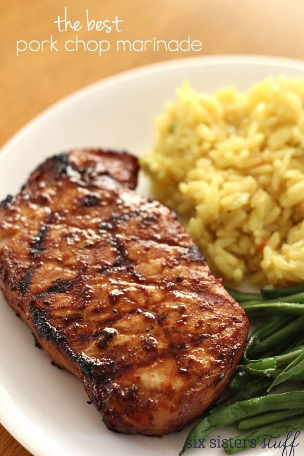 The Best Pork Chop Marinade on SixSistersStuff.com