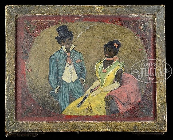 """Estimate: $3,000 - $5,000 Description: Last quarter of the 19th Century, Savannah, Georgia. Probably a wedding gift; having the initials """"A.H."""" painted on the front. The top of the box featuring a prosperous and fashionably dressed young African American couple portrayed with fine detail and in bright polychrome colors."""