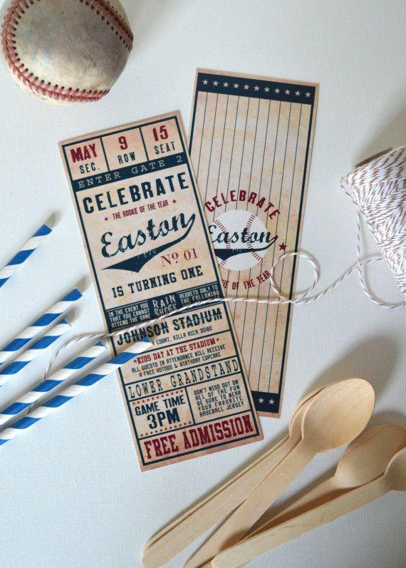 Vintage Baseball Ticket Invitation- Printed & Shipped