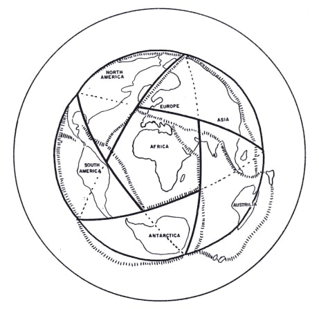 Dr. Spilhaus' geometric expansion of Earth's continents in