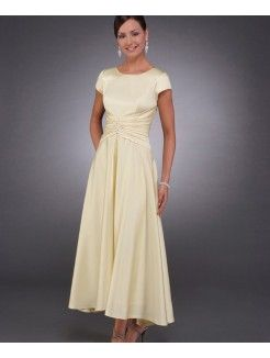 Princess Scoop Neckline Ankle-Length Elastic Woven Satin Mother of the Bride…