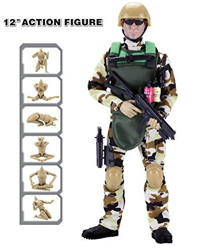 """Discounted 12"""" Special Forces Military Action Figure Army Man Toy Soldier - 30 Articulation Points and 15 Accessories (Camouflage)"""