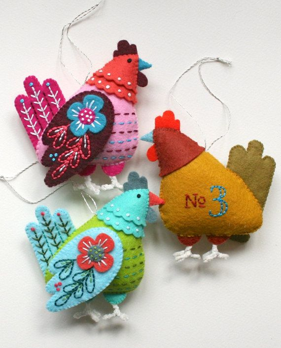 Christmas Felt Decorations Patterns: French Hen PDF Pattern For A Hand Sewn Wool Felt Ornament