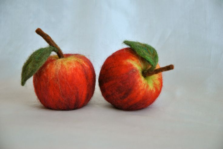 Waldorf inspired needle felted fruit : Red Apple.