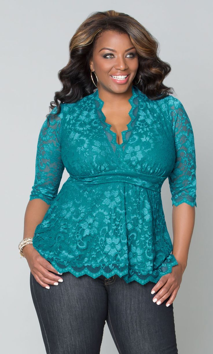 Linden Lace Top from Kiyonna. Love the teal color and the deep V neck. Not sure about the three quarter sleeves