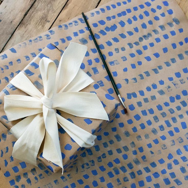 This week we're donating 10% of sales to the @aclu_nationwide.  We also have gift wrap ideas you can make yourself on The Fold. Our intern @hitahira used a flat brush to make these marks on craft paper. Finish with a plain twill tape and you're done.