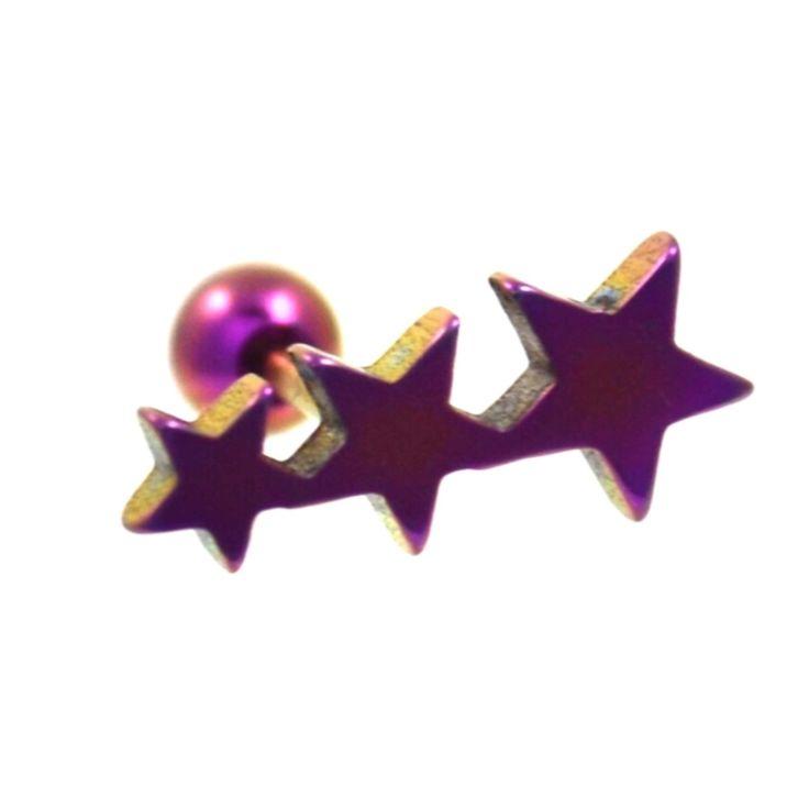 BodyDazz.com - Purple Titanium Triple Star Cartilage/Tragus Bar (http://www.bodydazz.com/purple-titanium-triple-star-cartilage-tragus-bar-16g/)