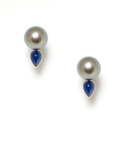 Assael Grey Tahitian Pearl & Sapphire Teardrop Earrings