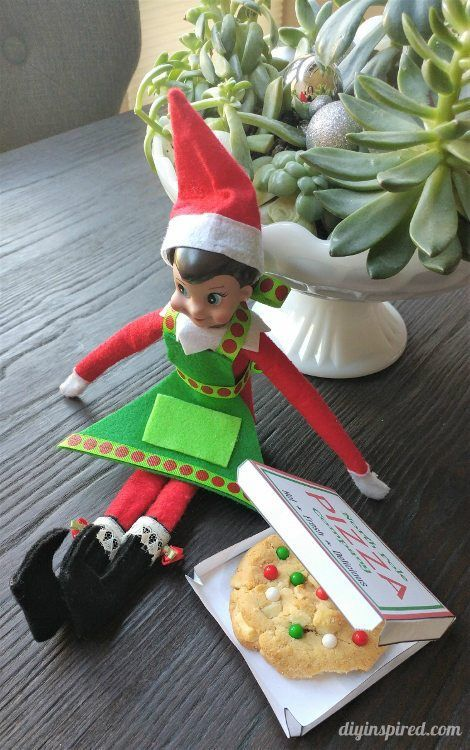 Elf on the Shelf Pizza Box Free Template - Mini Pizza Box
