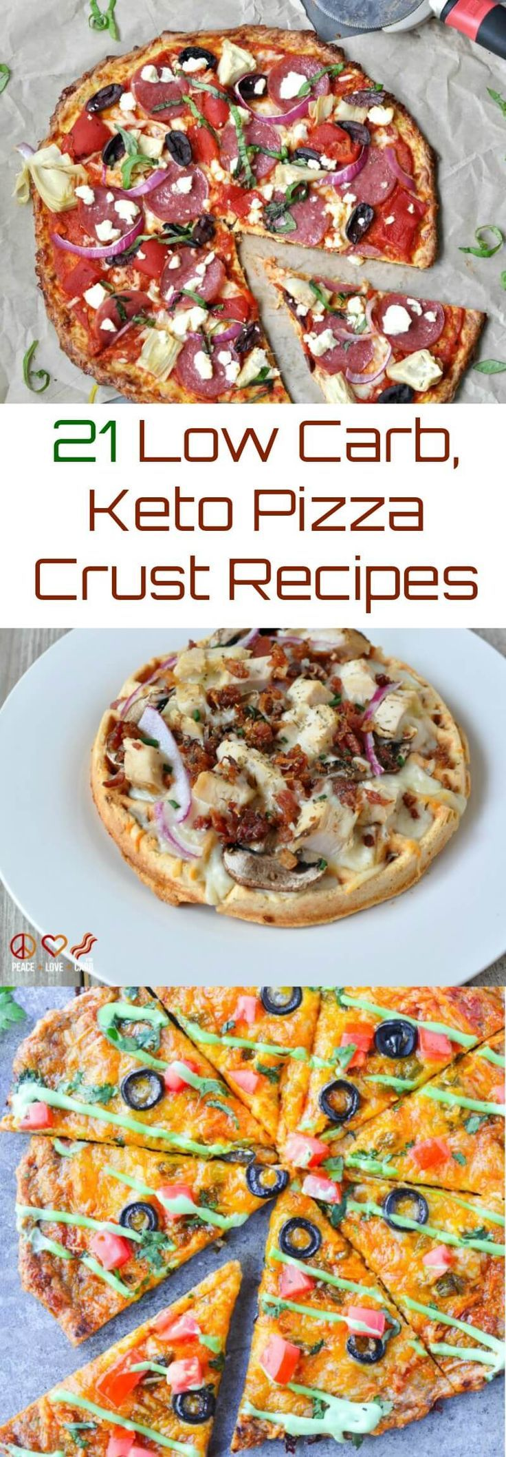 21 Low Carb, Keto Pizza Crust Recipes | Peace Love and Low Carb via @PeaceLoveLoCarb