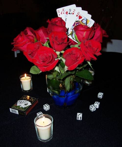 Poker Party Floral Centerpiece. Event Planner, Centerpiece and Photo by: One Event Design