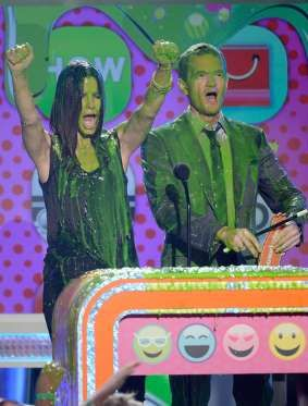 She and Neil Patrick Harris were covered in slime at the Kids' Choice Awards in March 2013. - Getty