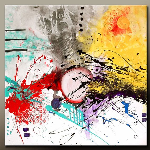 In The Middle - Abstract Canvas Art Painting  Huge 48x48 Original by wostudios, $329.00