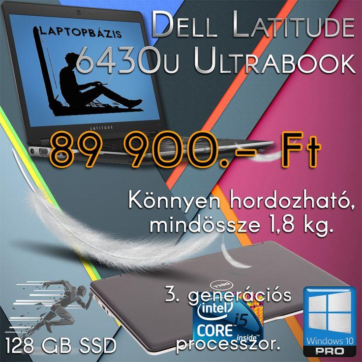"""Dell Latitude 6430u Ultrabook, Intel Core i5-3437U, 4 GB RAM, SSD, webkamera, Windows 10 Pro, 14"""" HD LED kijelző  Ár: 89 900.- Ft"""