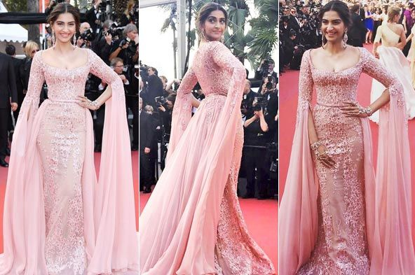 Sonam kapoor show her sexy cleavage at Cannes 2017 Photos With The Hottest Look - Kapoor Cleavage