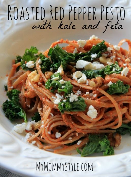 Roasted Red pepper pesto with kale and feta - use pecans instead of ...