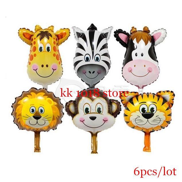 8pcs Mini Lion & Monkey & Zebra & Deer & Cow Animals Head Foil Balloons Animal Air Balloons theme birthday party Decoration Toys