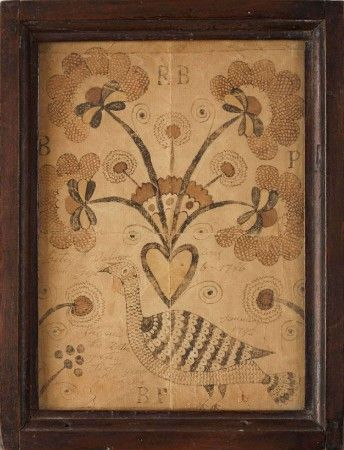 AMERICAN SEPIA WATERCOLOR MEMORIAL WITH A TURKEY AND HEART ISSUING LARGE FANCIFUL FLOWERS, CIRCA 1792. Sold: $2,006 ($1,700)