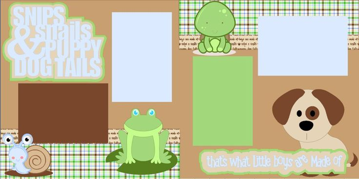 Scrapbook Page Kit or Premade Layout 12X12 2-Page - Boy/Snips and Snails and Puppy Dogs Tails - pinned by pin4etsy.com