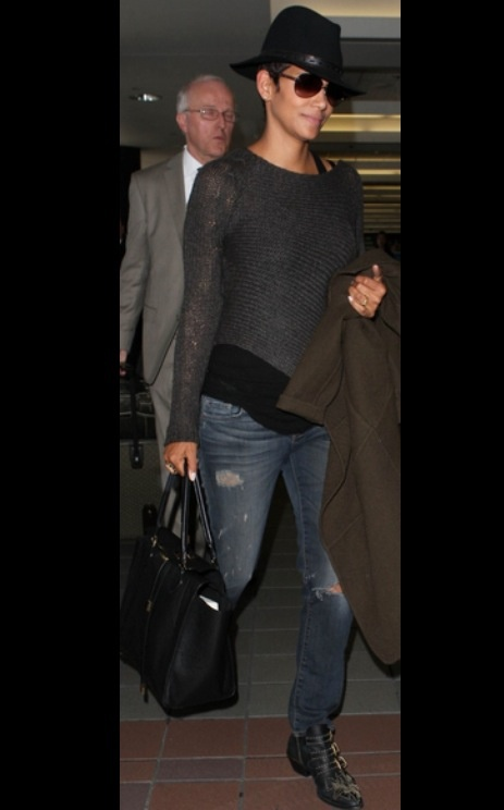 Halle Berry in casual gear - missing Halle style but I'm sure she's chilling with her new son