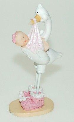 Kakepynt Stork med Baby Rosa