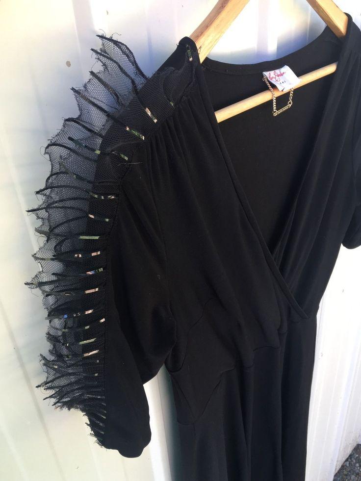 Leona Edmiston Limited Edition Frock Black Jersey With Amazing Tulle Sleeves! | eBay