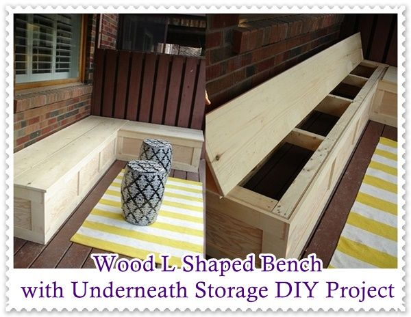 This Wood L Shaped Bench With Underneath Storage Diy Project Is A Fantastic Idea To Drawn The Family And Friends Out L Shaped Bench Diy Bench Diy Storage Bench