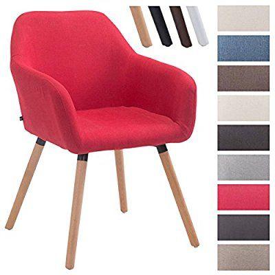 CLP Chaise de visiteur ACHAT V2 en tissu, avec accoudoirs, capacité de charge max 150 kg, piètement en bois, siège rembourré, avec capuchons protège-sol rouge, Piètement: nature