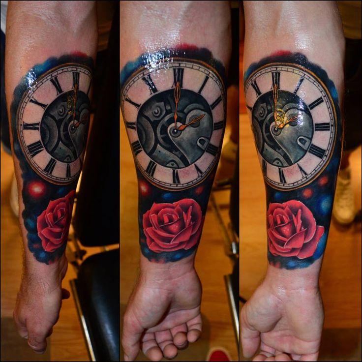 #rose #rosetattoo #colourtattoo #realistictattoo #clock #clocktattoo #armtattoo #ink #colours #beautifultattoo #realism