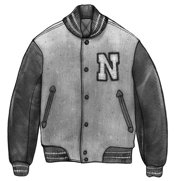 Университетская куртка, она же бейсбольная, она же varsity jacket, она же letterman jacket — классический атрибут американских университетских спортсменов. Это короткая куртка с контрастными рукавами, стеганой подкладкой, коротким трикотажным воротником, манжетами и поясом-резинкой. В самом классическом варианте корпус куртки сделан из мелтона (плотной шерсти, почти как у бушлатов и пальто), а рукава — из кожи.