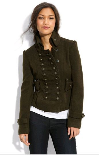 Military jacket! Serious coat love couture delish olive green, frogging, buttons yes!