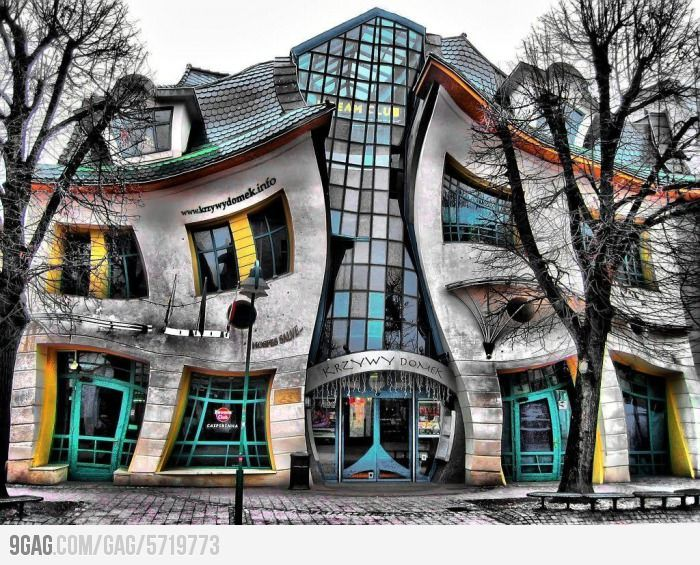 Krzywy Domek in Poland  Polish architect of the Crooked House, Szotynscy Zaleski, was inspired by the fairytale illustrations of Jan Marcin Szancer and the drawings of the Swedish artist and Sopot resident Per Dahlberg. The most photographed building in Poland, the 4,000 square meter house is located in Rezydent shopping center in Sopot, Poland.