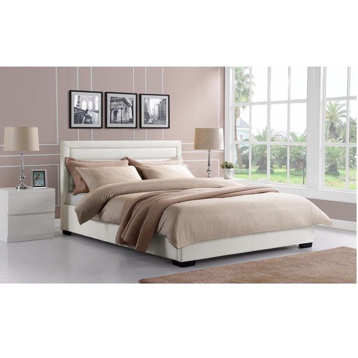 Avenue Greene DHP Manhattan Premium Faux White Leather Bed  Full. Best 25  White leather bed ideas on Pinterest   White bedding