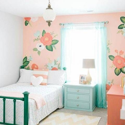 big-scale wallpaper in a sweet little girl's room