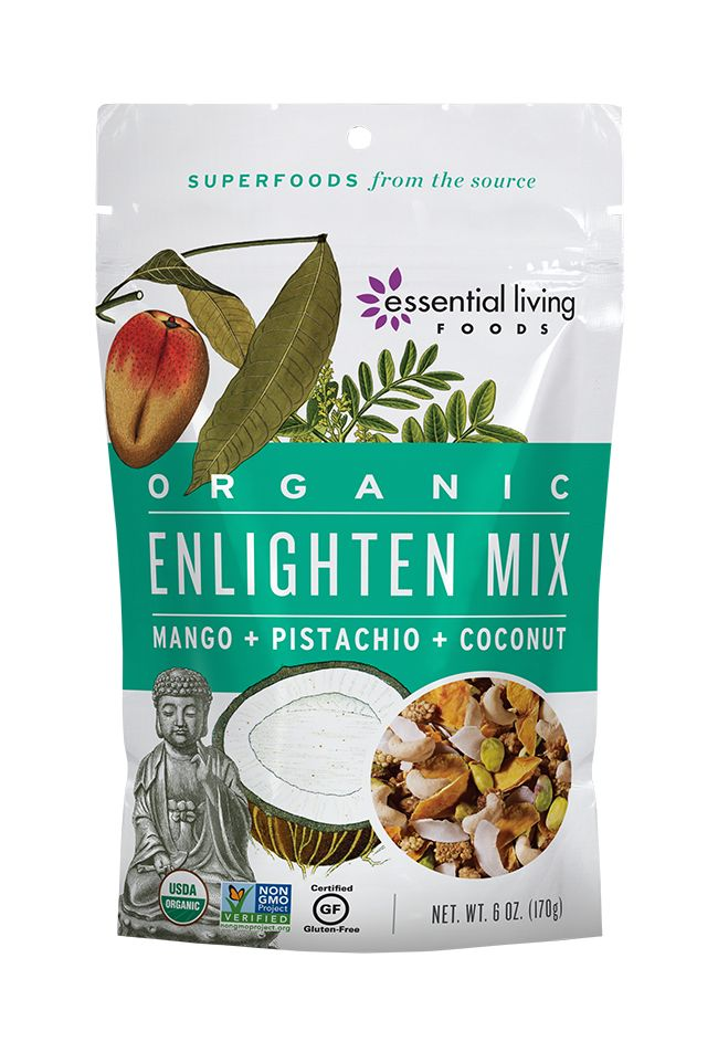 Enlighten Mix  This fragrant Organic blend of tropical superfoods transports your spirit to a sun-dappled beach-side hammock. Each bite leaves you deeply satisfied and ready to face the day's adventures.  With zero additives or sweeteners, we let our premium ingredients speak for themselves: moist, chewy mango and coconut, creamy cashews, luscious mulberries, and protein-packed Pistachios.