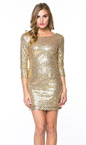 Shimmering Bodycon Dress with Sleeves in Gold *** See this great product.