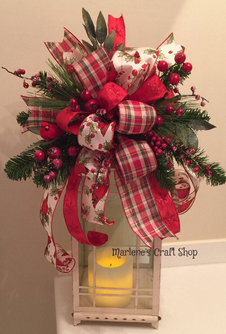 Christmas Lantern Swag, Christmas Tree Topper Bow, Cardinal Decoration, red Cardinal Christmas Decoration, Farmhouse Christmas decor, bow by MarlenesCraftShop on Etsy