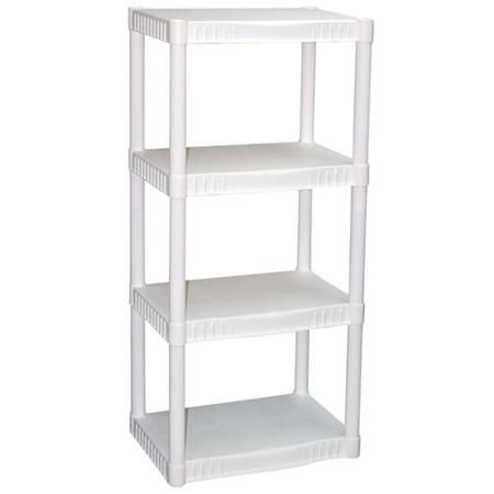 Plano 4-Tier Heavy-Duty Plastic Shelves, White For that spot where the fridge used to be