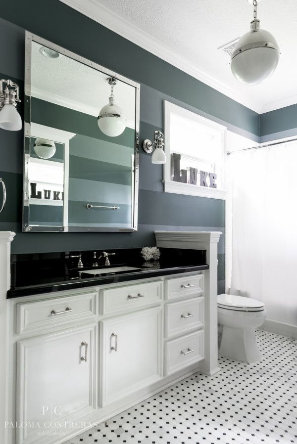Glam/Masculine boy's bathroom. Project Reveal: A Glamorous Before and After Part 3 | La Dolce Vita