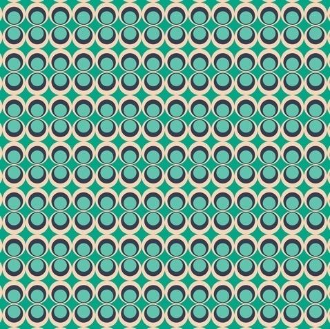 Retro Pop MInt Collectie: Carnaby Street (Art Gallery) Design: Art Gallery Kwaliteit 100% katoen Stofbreedte 110 cm Achtergrondkleur Mintgroen en donkerblauw Motief grootte 1,5 cm (cirkel)