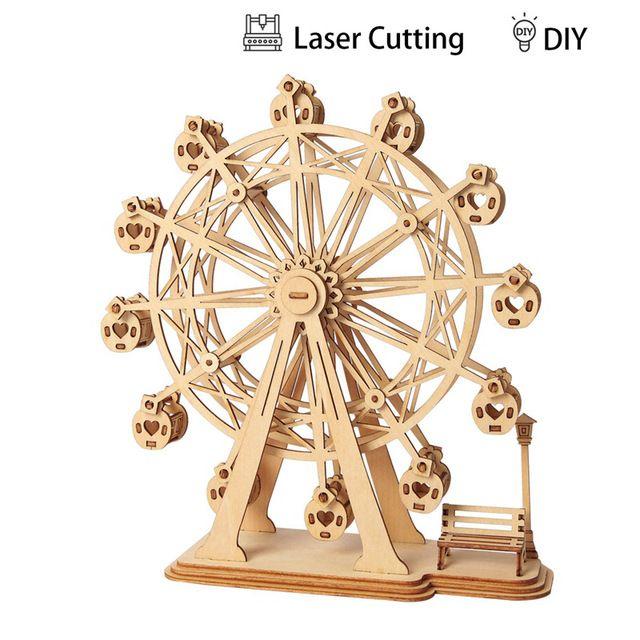 Laser Cutting Wood Wooden 3D Model Puzzles Toy Kids Children DIY Crafts Gift