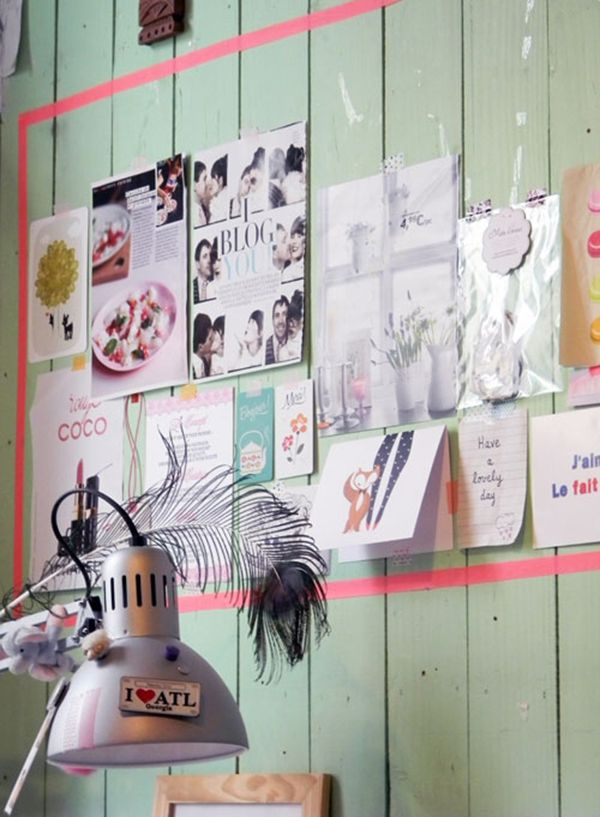 Masking tape frame - I love the green wooden boards, the frame and the mish mash on the wall