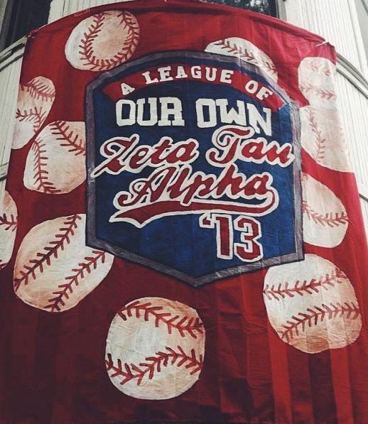 LOVE our baseball-themed bid day banner.