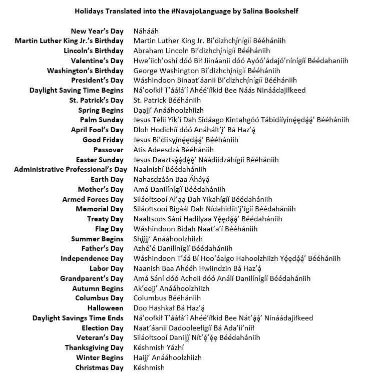 Holidays translated into the Navajo language by Salina Bookshelf.