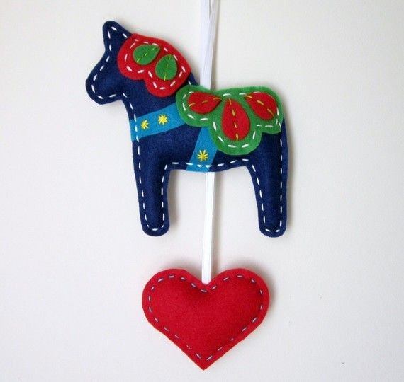 Eco Felt Dala Horse Plush Wall Hanging Cute MADE by lovahandmade, $20.00