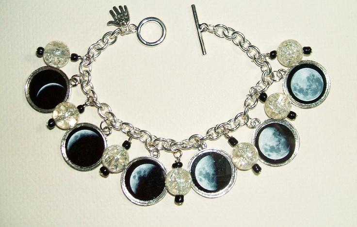 MOON PHASES Charm Bracelet Celestial Lunar Altered ART by artalot. $36.99 USD, via Etsy.