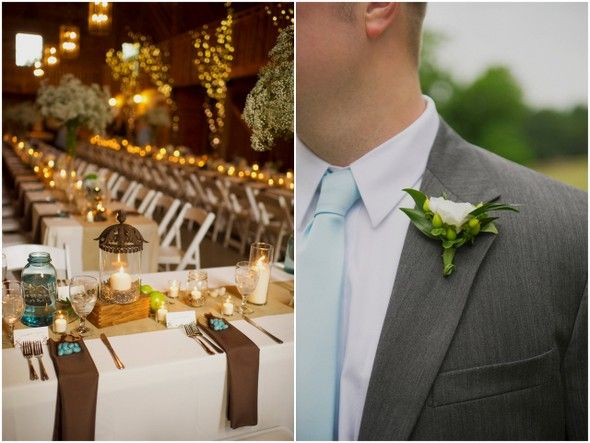 Blue & Brown Barn Wedding Ideas